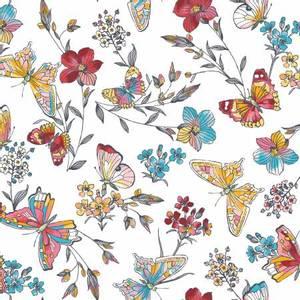 Bilde av Bomullstoff sommerfugler aqua hvit