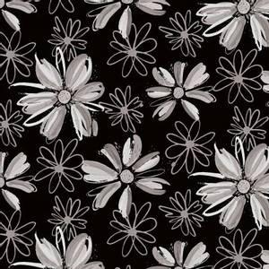 Bilde av Bomullsjersey Svart med blomster