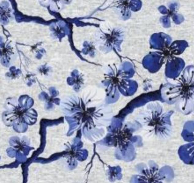 Bomullsjersey Blå Japan Blomster melert grå