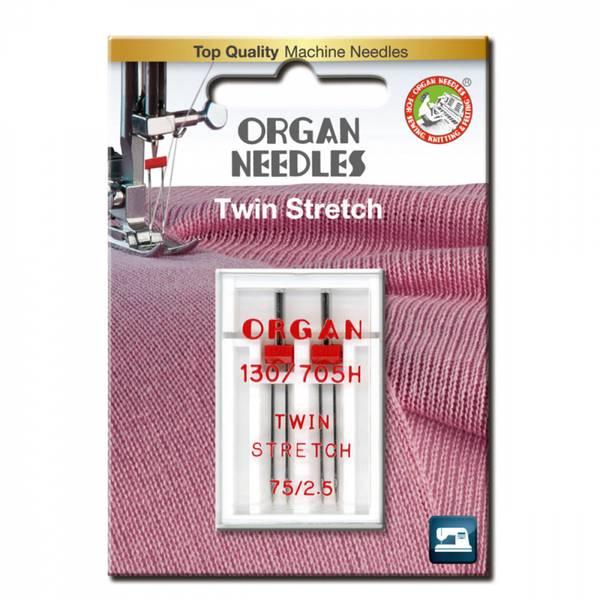Organ symaskinnåler Tvillingenål Stretch 2,5mm #75, 2 stk.