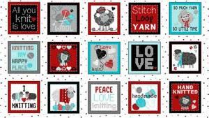 Bilde av Bomullstoff White Love to Knit Boxes 43in x 24in