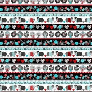 Bilde av Bomullstoff Multi Love to Knit Stripe